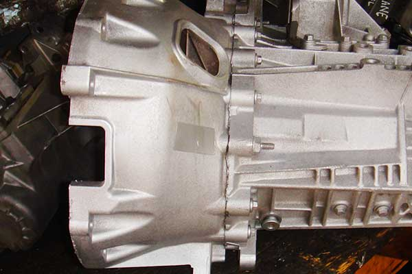 close up side view of a reconditioned vauxhall gearbox